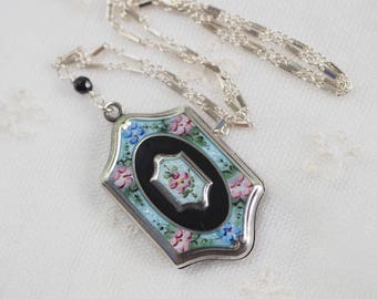 Antique Guilloche Enamel Locket  - Vintage Sterling Silver Enameled Pendant Necklace  - Bar & Link Chain