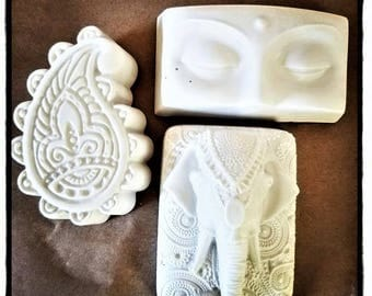 Boho decor, Indian inspired set of mini wall plaques, elephant, paisley, Buddha, spiritual gift