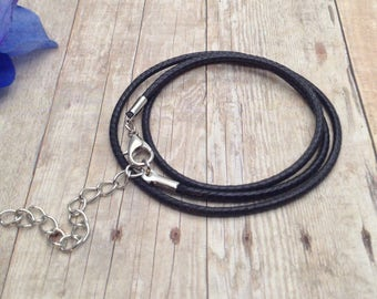 Black Leather Cords with Lobster Clasps / Black Leather Cords 17.5 inch/ 45 cm / Genuine Leather Cords