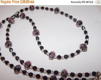20%OFF Black and Pink Floral Lampwork with Black Czech Glass and Pink Crystal Necklace