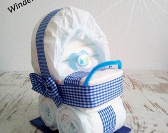 Pram stroller out of diapers blue