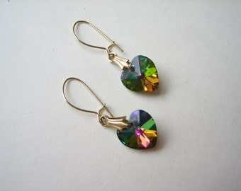 Vintage genuine crystal heart earrings, Swarovski crystal, heart drop earrings, Swarovski hearts, rainbow crystal, genuine Swarovski