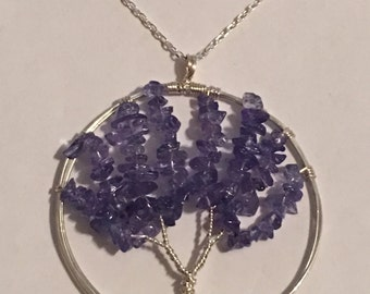 "Natural 5-6 CT Genuine Tanzanite Solid Sterling Silver LARGE Tree Of Life Necklace 18"" Chain"
