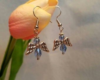 Angel Earrings, silver and light blue