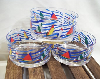 3 Colorful Sailboat Bowls,Hard Plastic,Made by Dayton,Hudson and Marshall Fields, Dated 1994