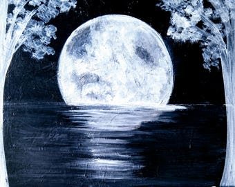dark moon on the water acrylic painting