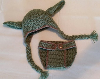 Crochet Baby Yoda Diaper Cover & Hat - Yoda Outfit - Yoda Costume - Made to Order - Baby Photo Prop