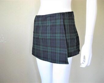 Plaid Wrap Skort Mini Skirt + shorts