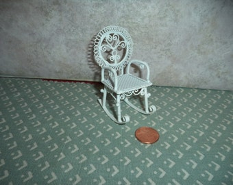 1:12 scale Dollhouse White wire Childs rocking chair