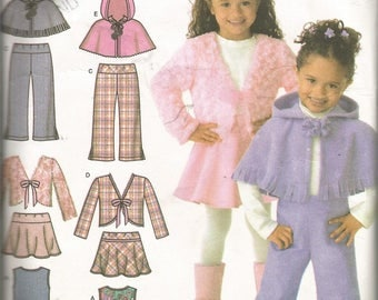 Simplicity pattern..EASY TO SEW Child's jumper, skirt, pants, jacket and poncho..Sizes 3 to 8.  uncut and factory folded