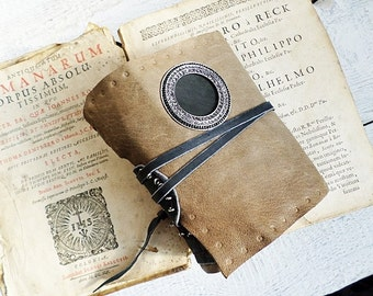 Grey Soft Leather  Journal coffee stained paper Ready to Ship