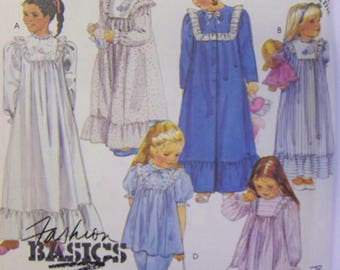 UNcut 1980s McCall's 2777 Childs' PAJAMAS,  NIGHTGOWN pattern sz 2-3