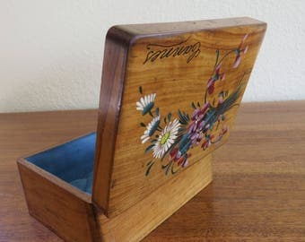 French Souvenir Olive Wood Box Casket Trinket Box Lined with Blue Silk Upholstered Button Tufted Interior Jewelry Box Cannes French Riviera
