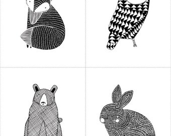Moda Thicket Little Critter Panel Bear Owl Bunny Fox Black and White Fabric by The Panel