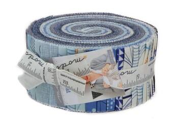 Moda True Blue Zen Chic Modern Jelly Roll 42 2.5 Inch Strips Fabric