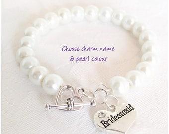 Pearl Bracelet, Bridesmaid Bracelet, Pearl Jewelry, Ivory Pearl Bracelet, Ivory Bridesmaid Jewelry