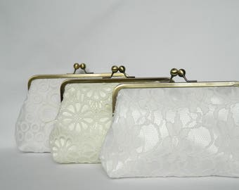 Combination Set of 3 Lace Bridal Clutches, Bridesmaids Gifts, Ivory Bridal Clutch Purses, Wedding Clutch, Bridesmaids Clutch, Lace Clutch