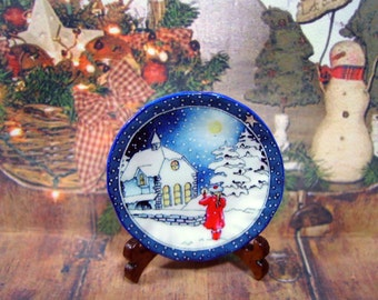 Christmas in Blue Dollhouse Miniature Plate  1:12 scale