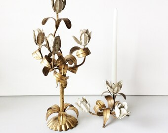 Vintage 2 Piece Gold Gilt Candle Holder - Gold and White Tulips -  Perfect Shabby Patina