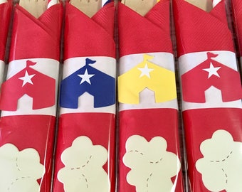 Carnival Decorations, Circus Party, Circus Party Decorations, Party Cutlery, Flatware, Circus Theme Birthday Party,  Circus, Carnival Party