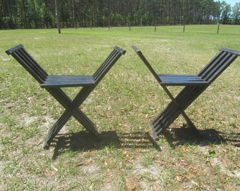 Vintage Folding Chairs, wood chair, Camp chair, Seat, Folding Seat, Black Wooden Chairs, sports chair,portable chair,scissor chair,