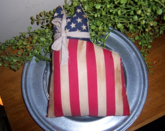 Primitive Handcrafted Americana Cat, Memorial Day, 4th of July Summer Ornies Tucks Shelf Sitters Bowl Fillers