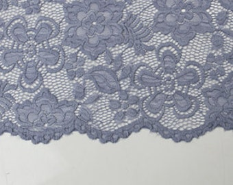 Denim 58'' Caroline Floral Scalloped Nylon Stretch Lace Fabric by the Yard- Style 686