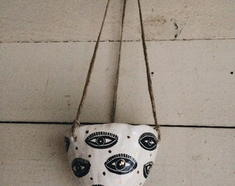Hanging Planter w/ Handpainted and Carved Eye Design and Gold Dot Accents / Earthenware Hanging Ceramic Vessel w/ Eyes / Succulent Pot