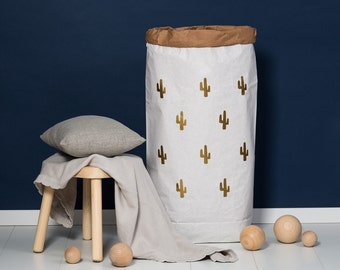 Paper bag XXL Cactus small gold - powder cloud