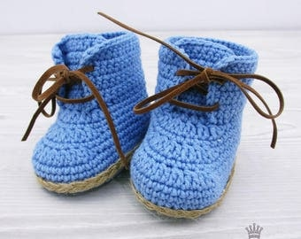 Blue Crochet Baby Boots Crochet booties Boots for boy Baby shower gift Photo prop booties Crochet Shoes baby boy blue boots
