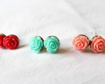 Stud Earrings, Roses, 3 colors
