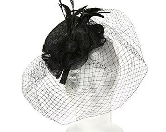 Mini Top Hat Fascinator for Weddings or the Races, with a Sinamay Fabric Bow and Corsage and Natural feathers. Timeless classic - Black