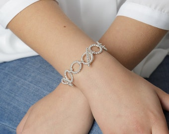 Chunky silver bracelet - Handcrafted sterling silver bubble links bracelet - gift for mum - gift for anniversary