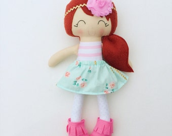 Red haired doll - fabric doll  - lookalike doll - rag doll - girls room decor - heirloom doll - dress up doll - birthday gift - baby gift