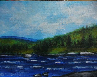 Original ACEO Painting Spring Wind on the Lake by Canadian artist Fay Fecteau