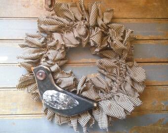 CROW,  Rustic Wreath,  CROW Door Wreath,  Rag  Wreath, Primitive Wreath,  Rustic Door Wreath, Primitive Rag Wreath