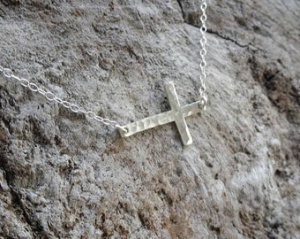 Sterling Hammered Cross Necklace, Sterling Silver, Hammered Cross, Silver Cross, Sideways Cross, Medium Cross