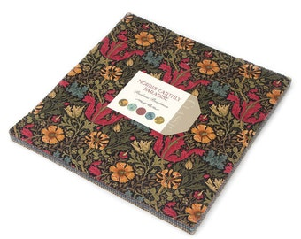 Morris Earthly Paradise Layer Cake by Barbara Brackman for Moda Fabrics, 10 inch squares