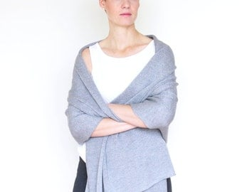 Light gray shawl, large, warm shoulder stole, knitted from merino extrafine
