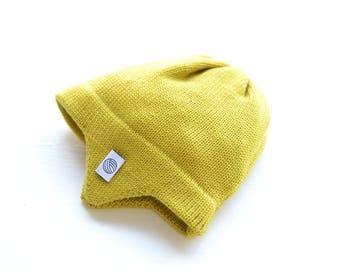 Gelbe Baby Mütze mit Ohrenklappen, Fliegermütze, 100 % weiches Merino Garn