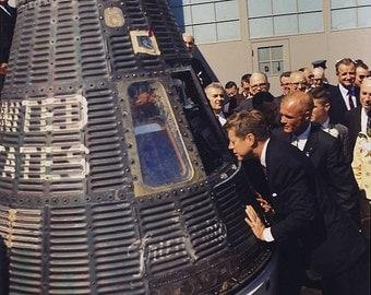 President John F. Kennedy inspects Mercury capsule with astronaut John Glenn, NASA 1962