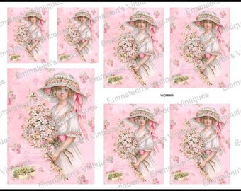 Vintage Shabby Victorian Pink Roses Woman Eiffel Tower Waterslide Decals~WOM964