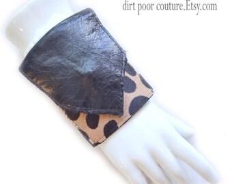 Leather | Womens Wallet | Cuff | Wallet | Wrist Wallet | Wallet Cuff | Black | Leopard