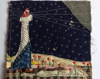 Lighthouse. Textile art.  Wall art. Wall hanging. Fiber art quilt. Original appliqué and embroidery on antique patchwork quilt