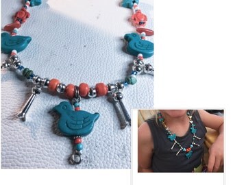 My Duck, Child first Squash Blossom Sterling Necklace By Wise BeadMaker Woman