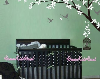 Wall Decal wall stickers nursery-Corner Tree branch with birdcage decal for Nursery-DK238