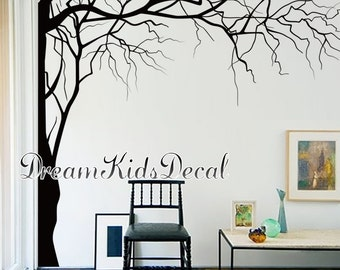 Vinyl Wall Decals Tree wall decal for Nursery-Corner top tree branch-White tree decals wall mural Large decal- DK268