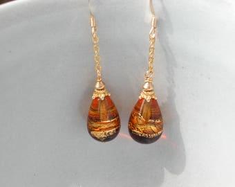 Amber Murano Glass Teardrop Earrings