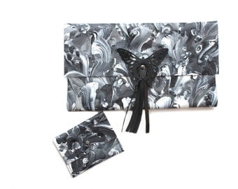 Black & White Clutch Bag, Butterfly Clutch Purse, Hand-Painted Leather Clutch.