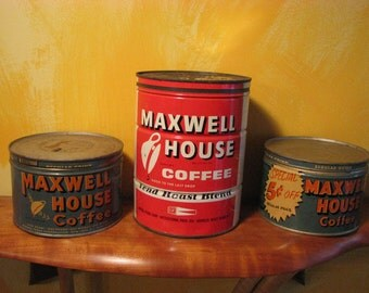 3 Vintage Coffee Cans (b)